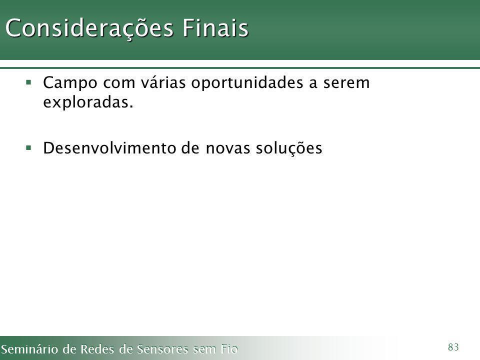 Considerações Finais Campo com várias oportunidades a serem exploradas.