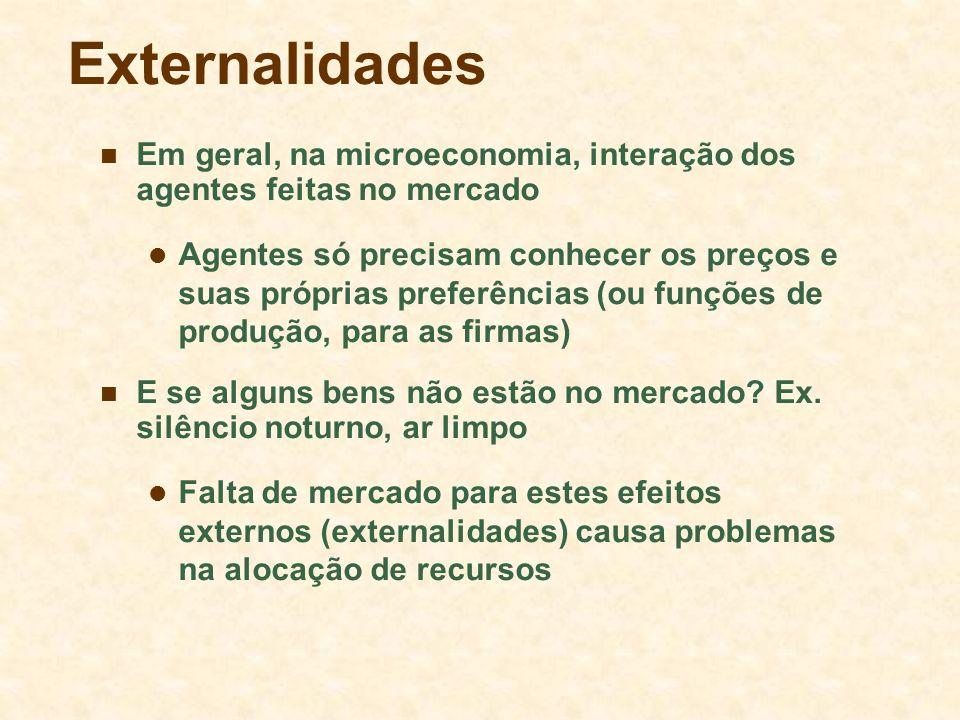 Externalidades Em geral, na microeconomia, interação dos agentes feitas no mercado.