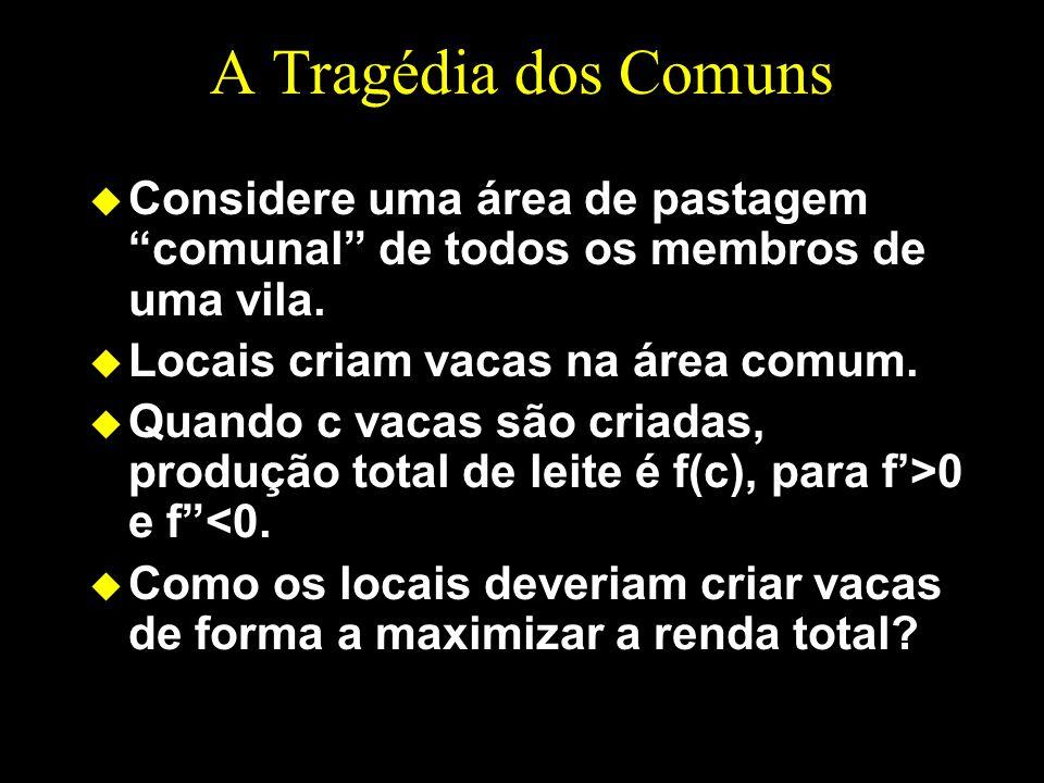 A Tragédia dos Comuns Considere uma área de pastagem comunal de todos os membros de uma vila. Locais criam vacas na área comum.