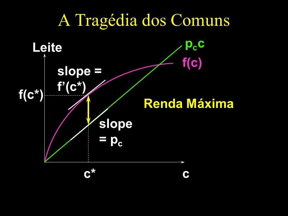 A Tragédia dos Comuns pcc Leite f(c) slope = f'(c*) f(c*) Renda Máxima