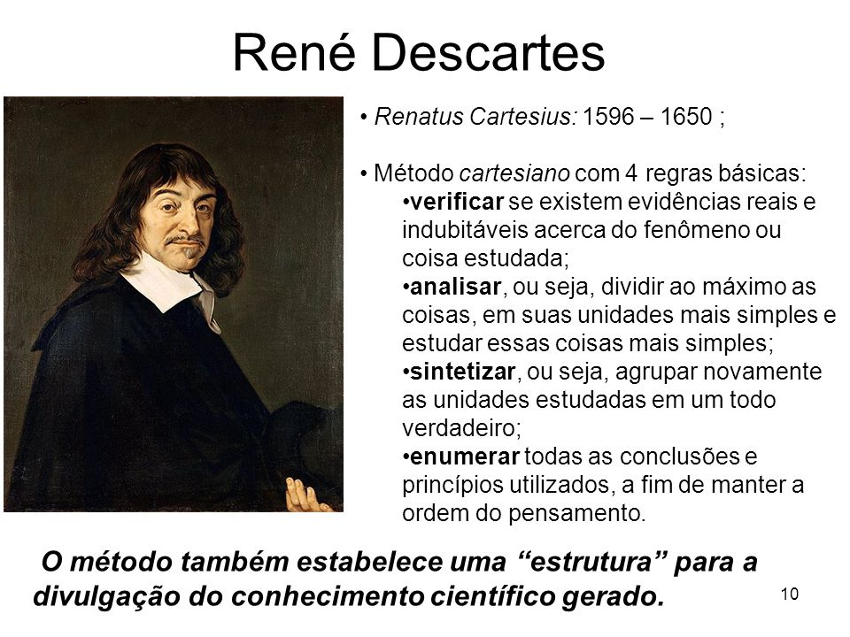 René Descartes Renatus Cartesius: 1596 – 1650 ; Método cartesiano com 4 regras básicas: