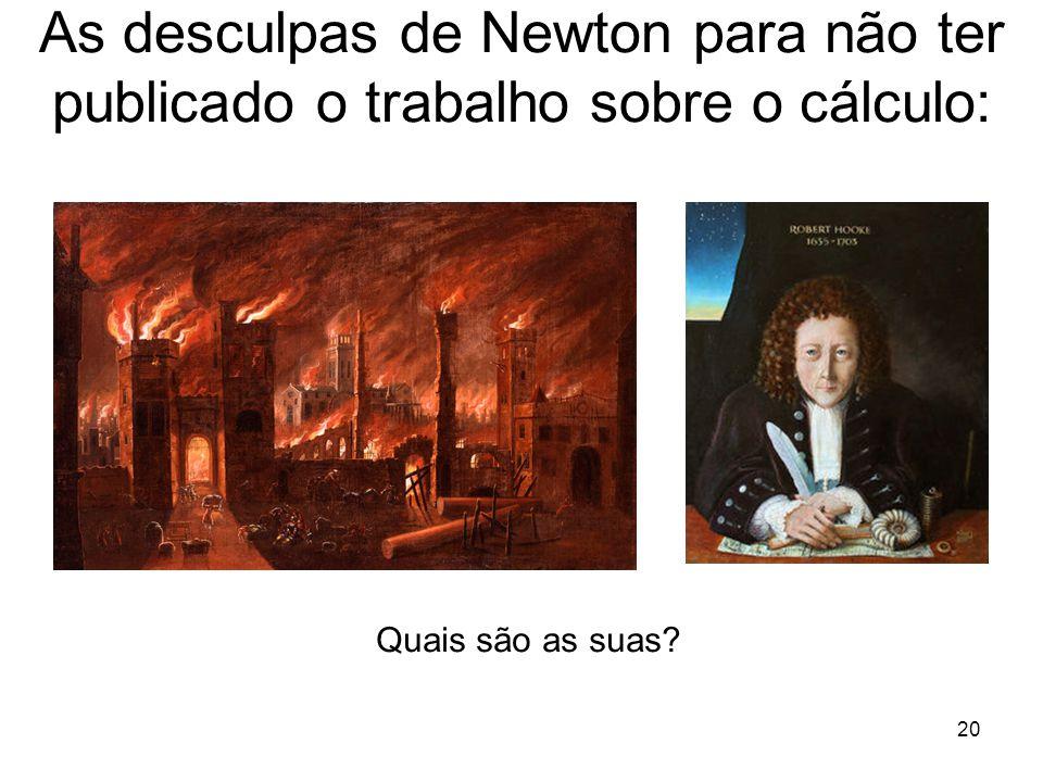 As desculpas de Newton para não ter publicado o trabalho sobre o cálculo: