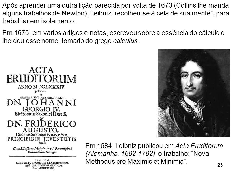 Após aprender uma outra lição parecida por volta de 1673 (Collins lhe manda alguns trabalhos de Newton), Leibniz recolheu-se à cela de sua mente , para trabalhar em isolamento.