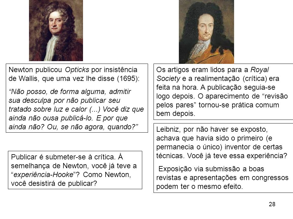 Newton publicou Opticks por insistência de Wallis, que uma vez lhe disse (1695):