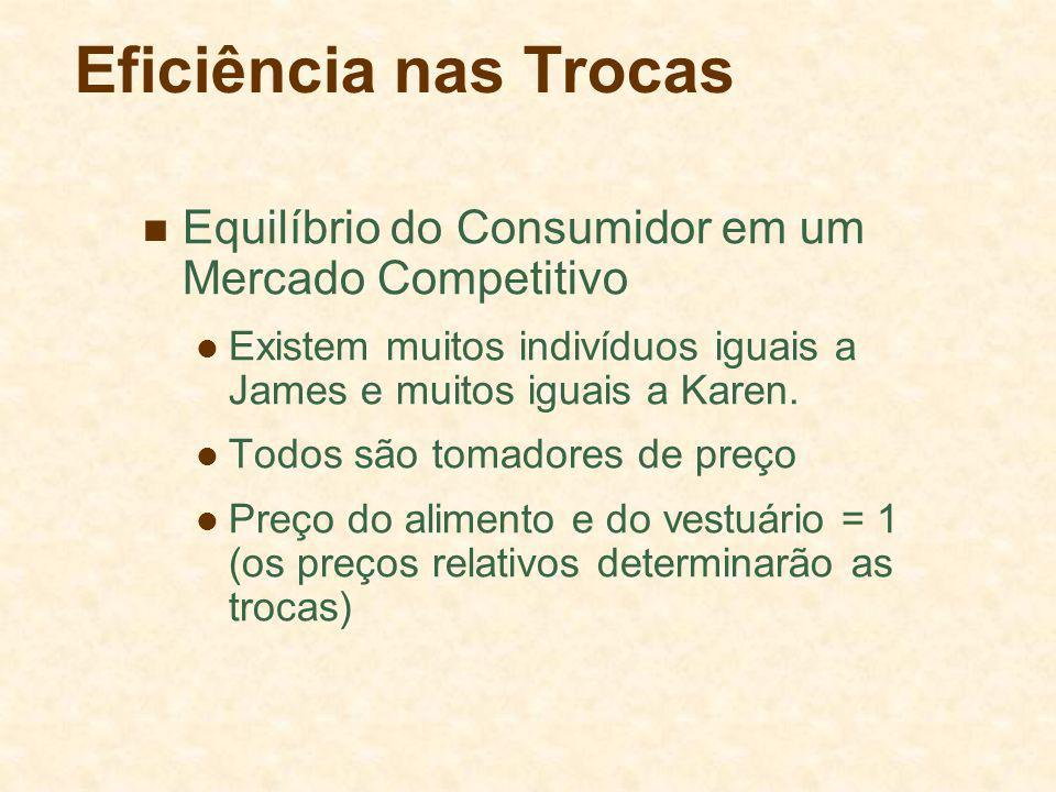 Eficiência nas Trocas Equilíbrio do Consumidor em um Mercado Competitivo. Existem muitos indivíduos iguais a James e muitos iguais a Karen.