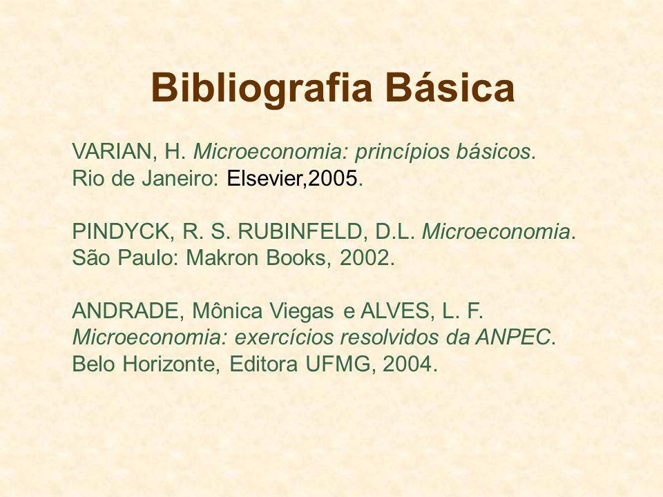 Bibliografia Básica VARIAN, H. Microeconomia: princípios básicos.