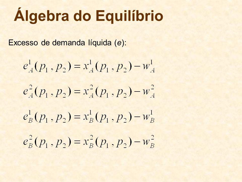 Álgebra do Equilíbrio Excesso de demanda líquida (e): 64