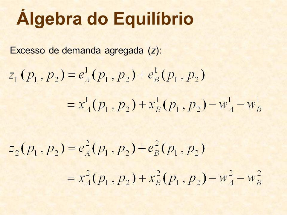 Álgebra do Equilíbrio Excesso de demanda agregada (z): 64