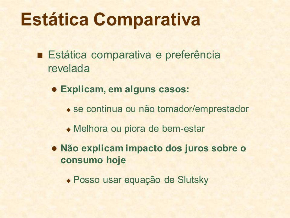 Estática Comparativa Estática comparativa e preferência revelada