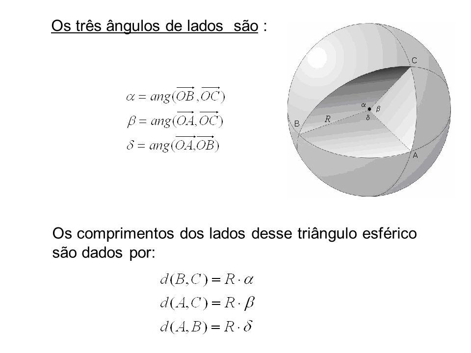 Os três ângulos de lados são :
