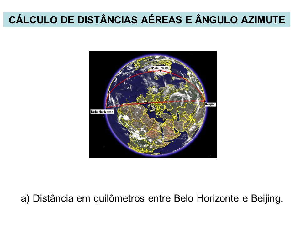 CÁLCULO DE DISTÂNCIAS AÉREAS E ÂNGULO AZIMUTE