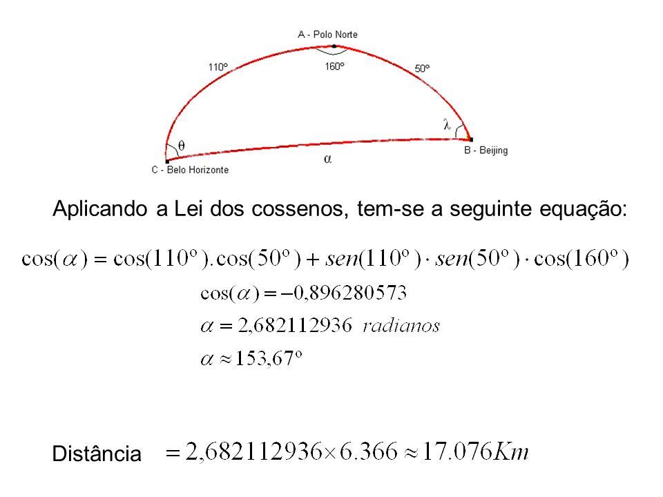 Aplicando a Lei dos cossenos, tem-se a seguinte equação: