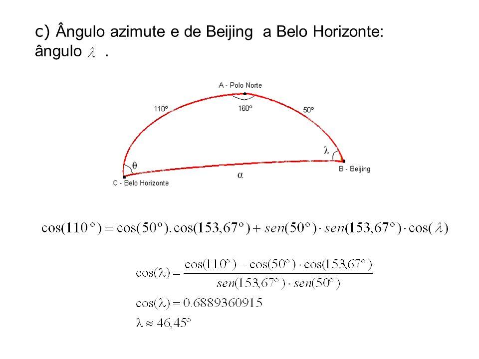 c) Ângulo azimute e de Beijing a Belo Horizonte: ângulo .