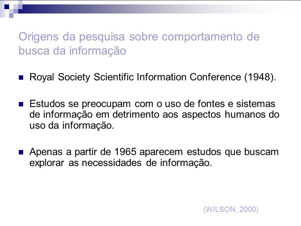 Origens da pesquisa sobre comportamento de busca da informação