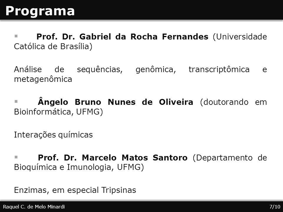 Programa Prof. Dr. Gabriel da Rocha Fernandes (Universidade Católica de Brasília) Análise de sequências, genômica, transcriptômica e metagenômica.