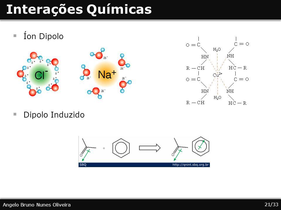 Interações Químicas Íon Dipolo Dipolo Induzido