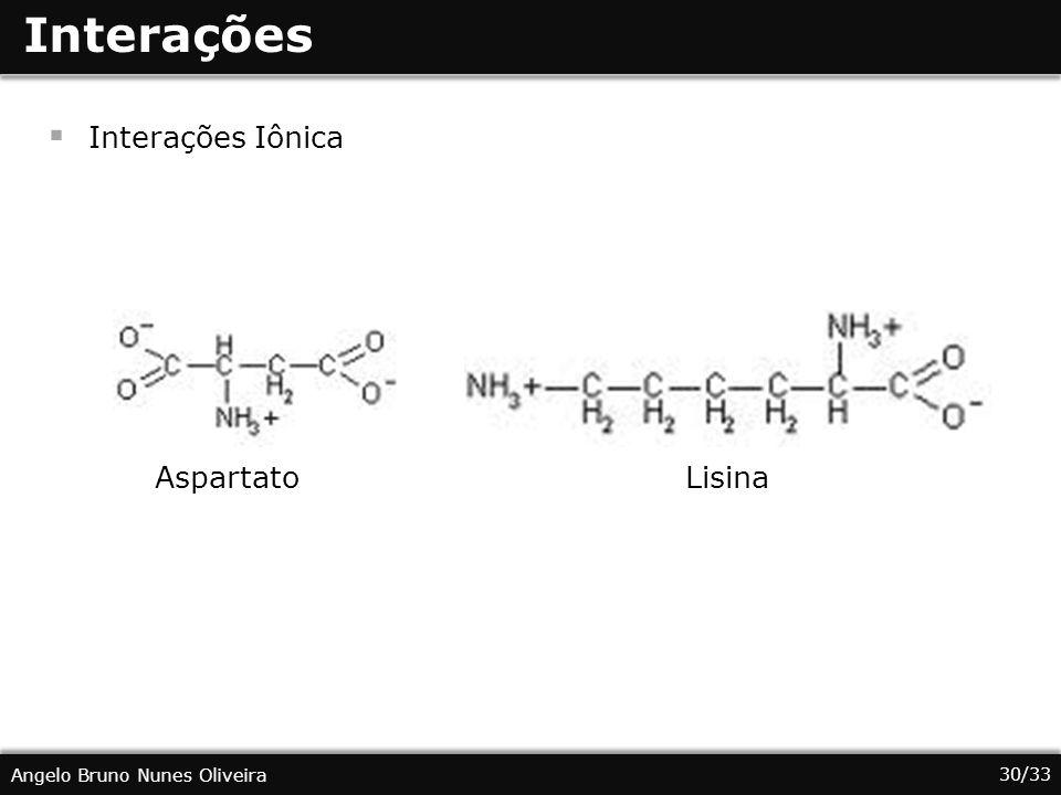 Interações Interações Iônica Aspartato Lisina
