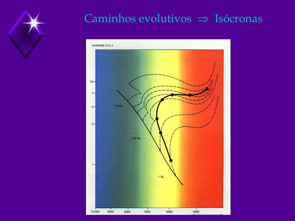Caminhos evolutivos  Isócronas