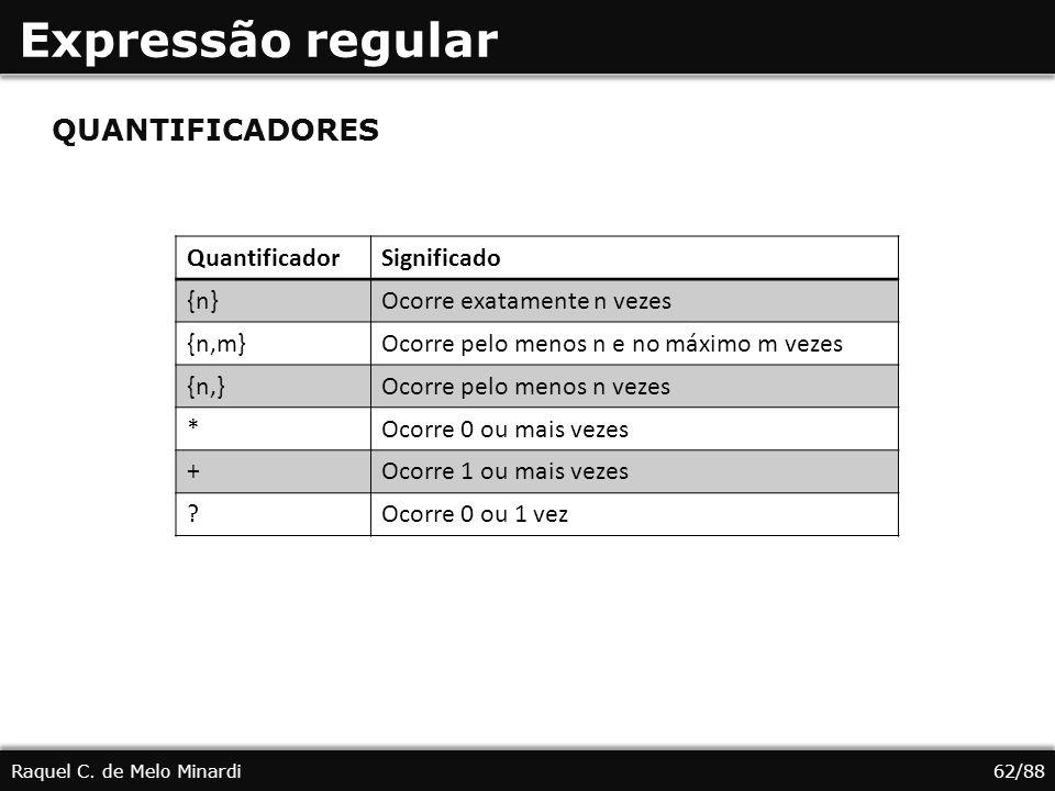 Expressão regular QUANTIFICADORES Quantificador Significado {n}