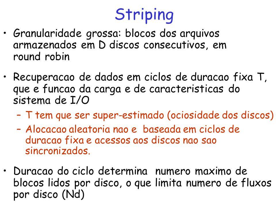 Striping Granularidade grossa: blocos dos arquivos armazenados em D discos consecutivos, em round robin.