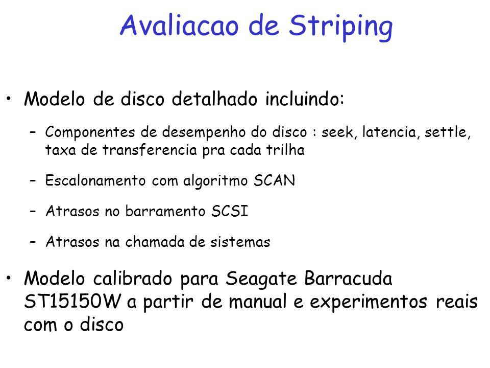 Avaliacao de Striping Modelo de disco detalhado incluindo: