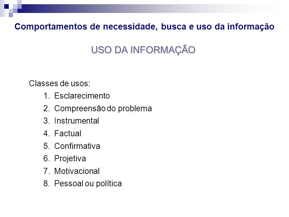 Comportamentos de necessidade, busca e uso da informação