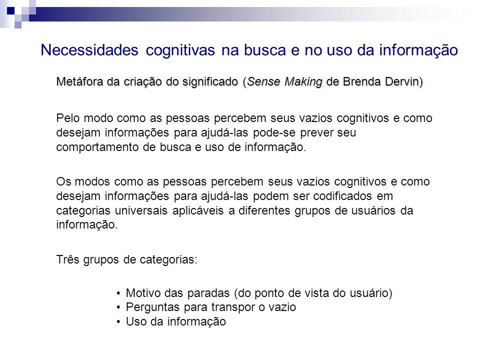 Necessidades cognitivas na busca e no uso da informação