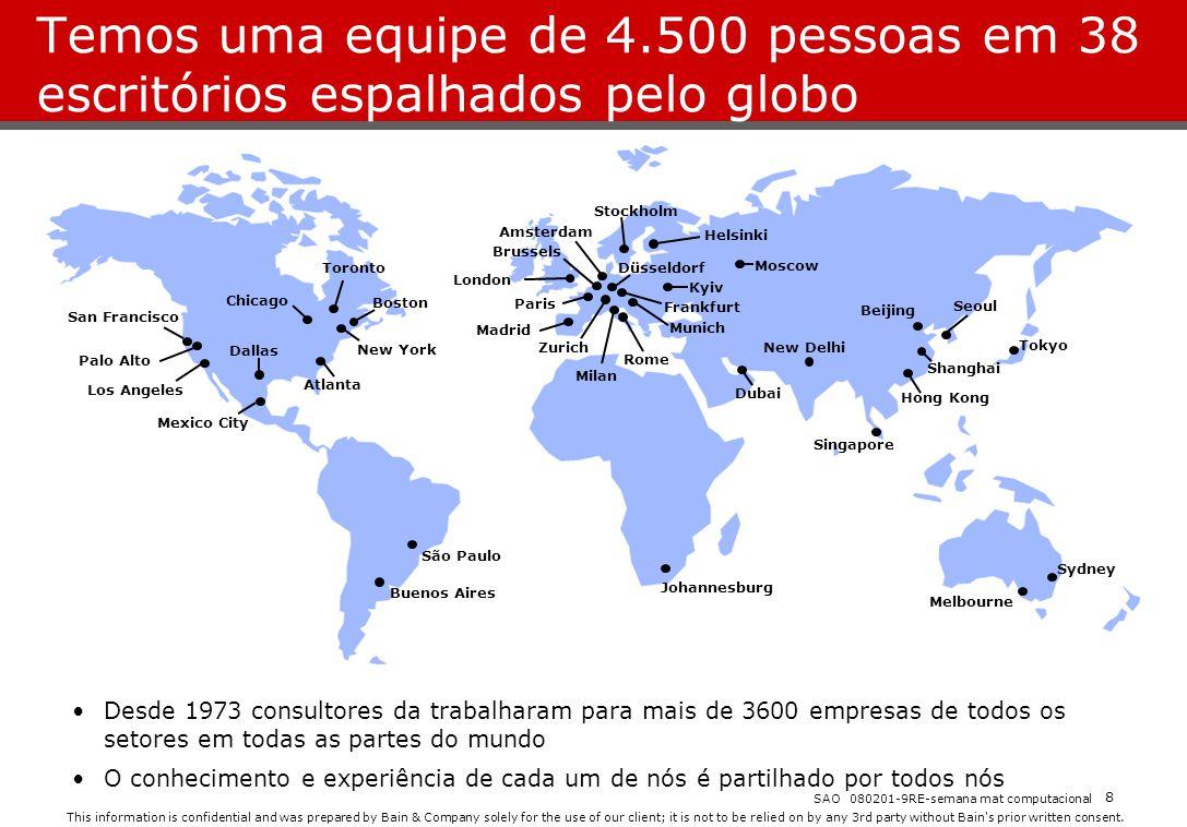 Temos uma equipe de 4.500 pessoas em 38 escritórios espalhados pelo globo
