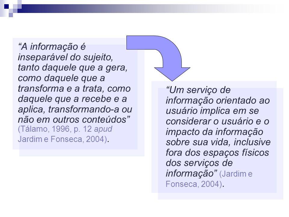 A informação é inseparável do sujeito, tanto daquele que a gera, como daquele que a transforma e a trata, como daquele que a recebe e a aplica, transformando-a ou não em outros conteúdos (Tálamo, 1996, p. 12 apud Jardim e Fonseca, 2004).