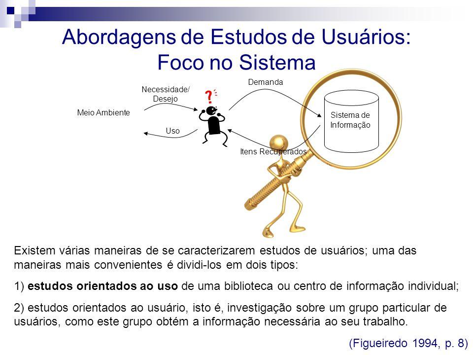 Abordagens de Estudos de Usuários: Foco no Sistema