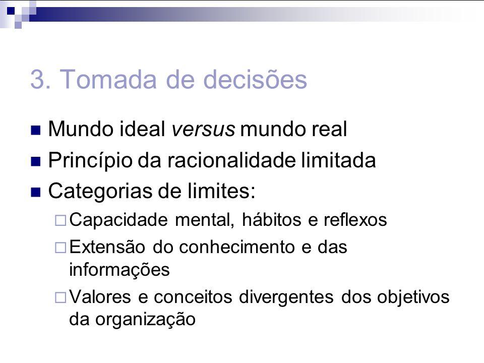3. Tomada de decisões Mundo ideal versus mundo real