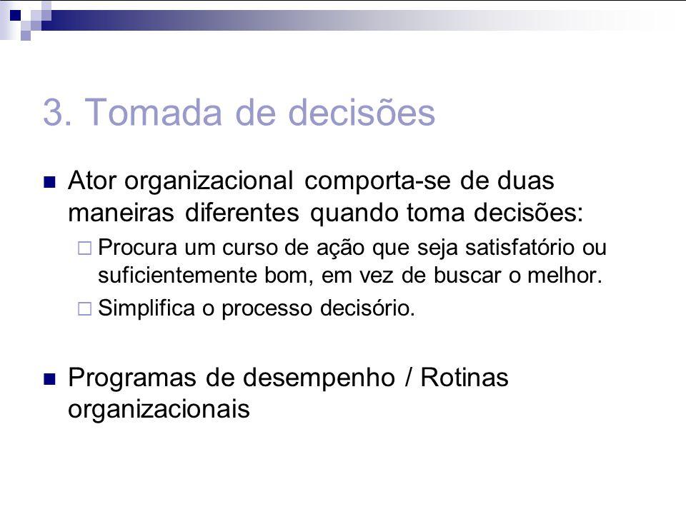 3. Tomada de decisões Ator organizacional comporta-se de duas maneiras diferentes quando toma decisões: