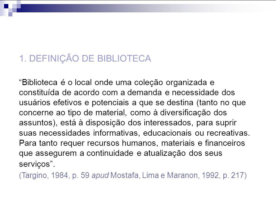 1. DEFINIÇÃO DE BIBLIOTECA