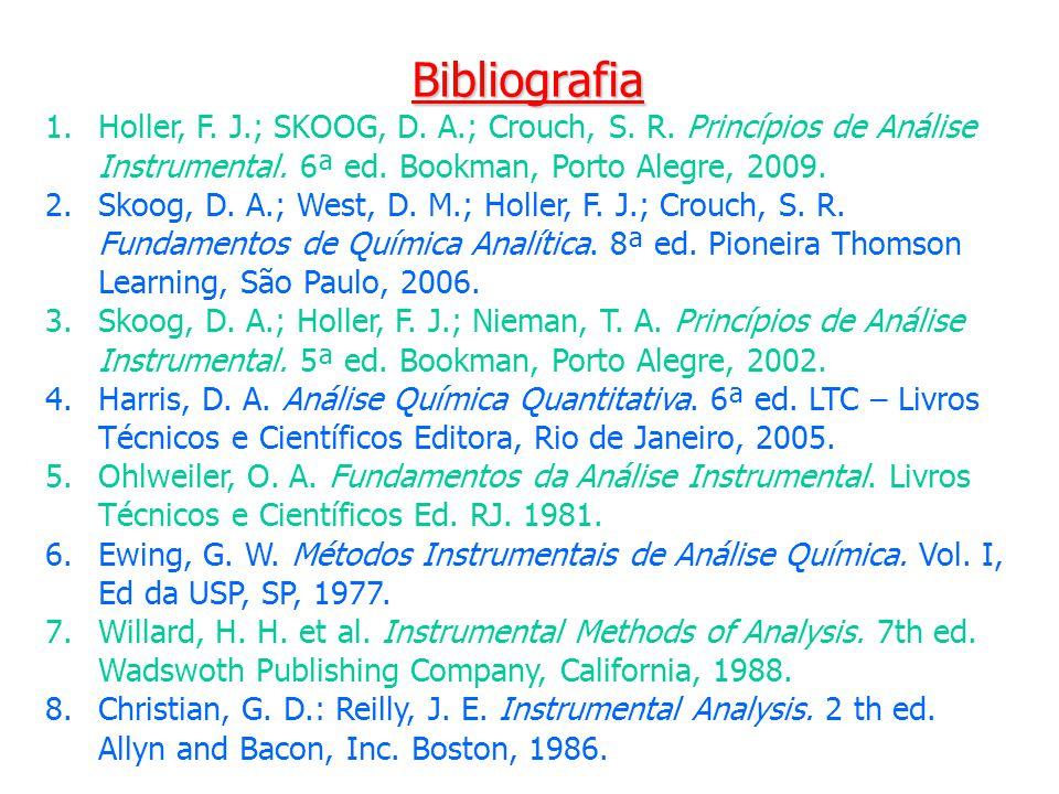 Bibliografia Holler, F. J.; SKOOG, D. A.; Crouch, S. R. Princípios de Análise Instrumental. 6ª ed. Bookman, Porto Alegre, 2009.