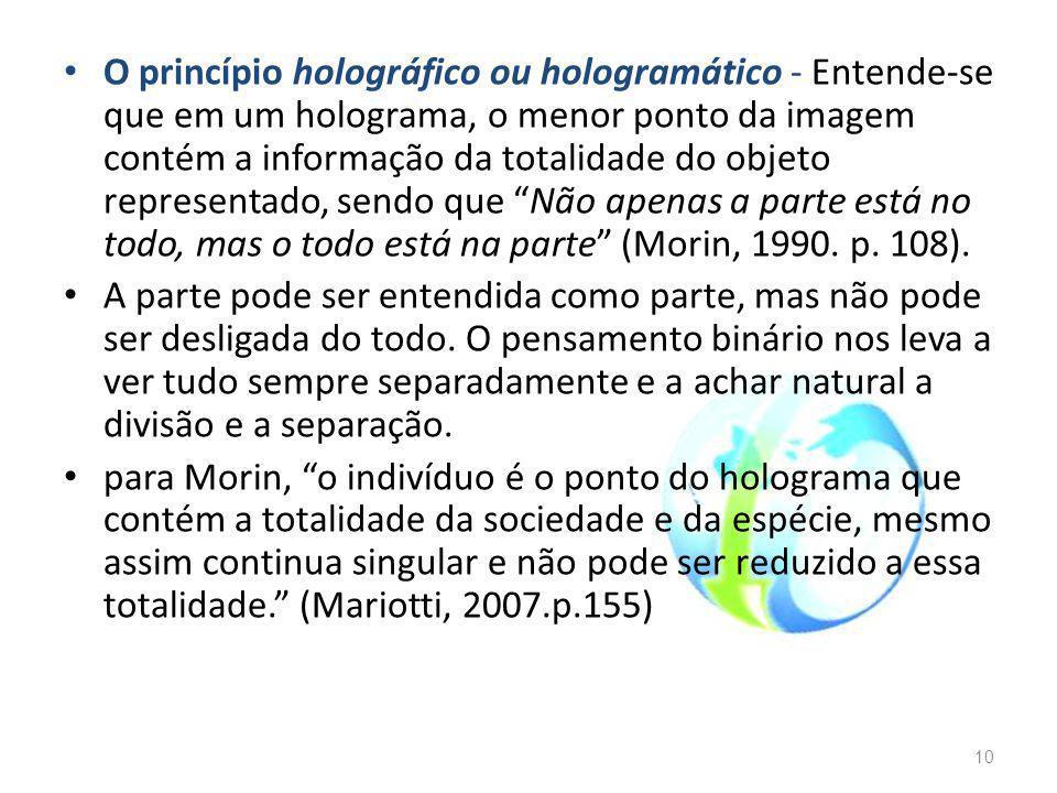 O princípio holográfico ou hologramático - Entende-se que em um holograma, o menor ponto da imagem contém a informação da totalidade do objeto representado, sendo que Não apenas a parte está no todo, mas o todo está na parte (Morin, 1990. p. 108).