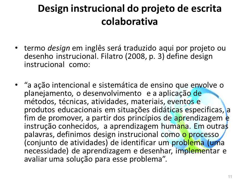 Design instrucional do projeto de escrita colaborativa