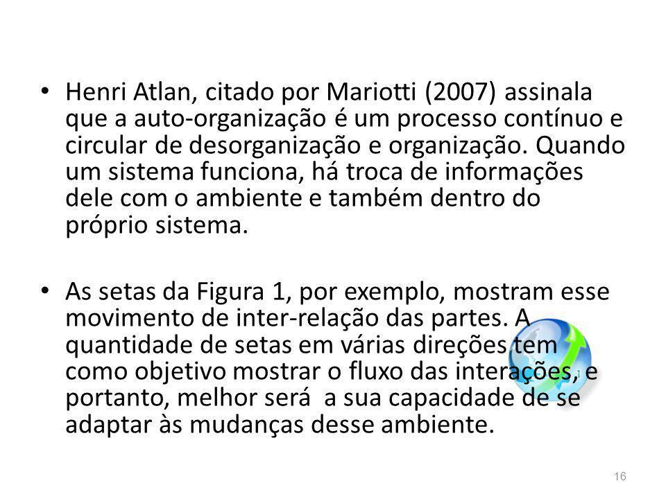 Henri Atlan, citado por Mariotti (2007) assinala que a auto-organização é um processo contínuo e circular de desorganização e organização. Quando um sistema funciona, há troca de informações dele com o ambiente e também dentro do próprio sistema.