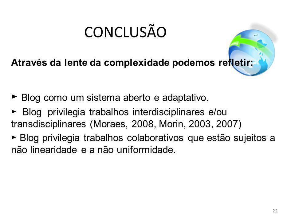 CONCLUSÃO ► Blog como um sistema aberto e adaptativo.