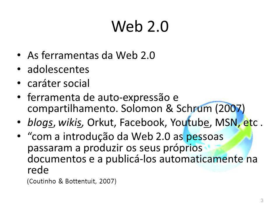 Web 2.0 As ferramentas da Web 2.0 adolescentes caráter social
