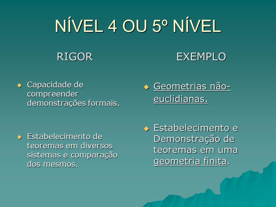 NÍVEL 4 OU 5º NÍVEL RIGOR EXEMPLO Geometrias não- euclidianas.