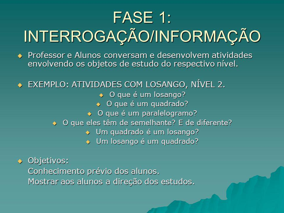 FASE 1: INTERROGAÇÃO/INFORMAÇÃO