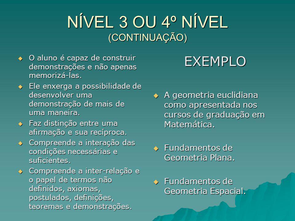 NÍVEL 3 OU 4º NÍVEL (CONTINUAÇÃO)