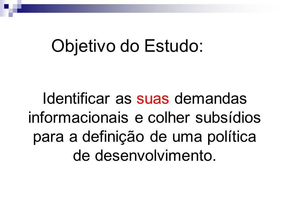 Objetivo do Estudo: Identificar as suas demandas informacionais e colher subsídios para a definição de uma política de desenvolvimento.
