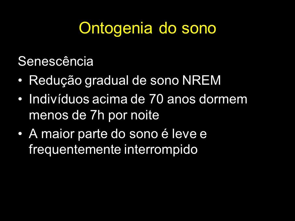 Ontogenia do sono Senescência Redução gradual de sono NREM
