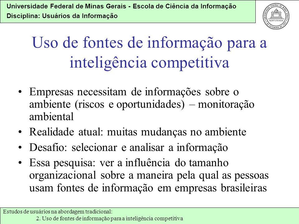 Uso de fontes de informação para a inteligência competitiva