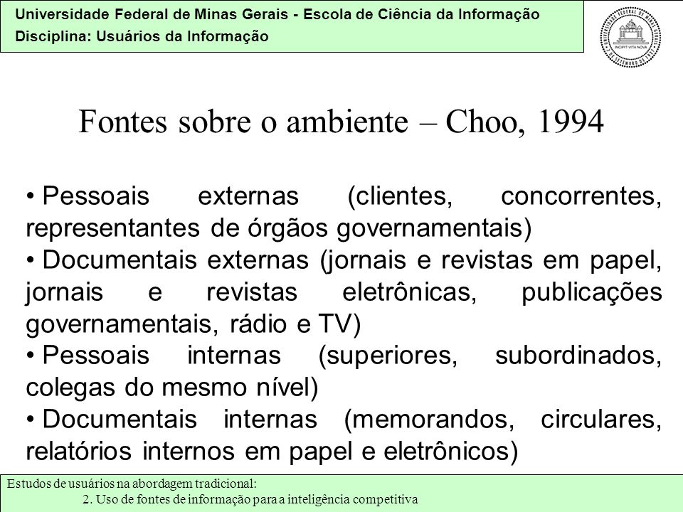 Fontes sobre o ambiente – Choo, 1994