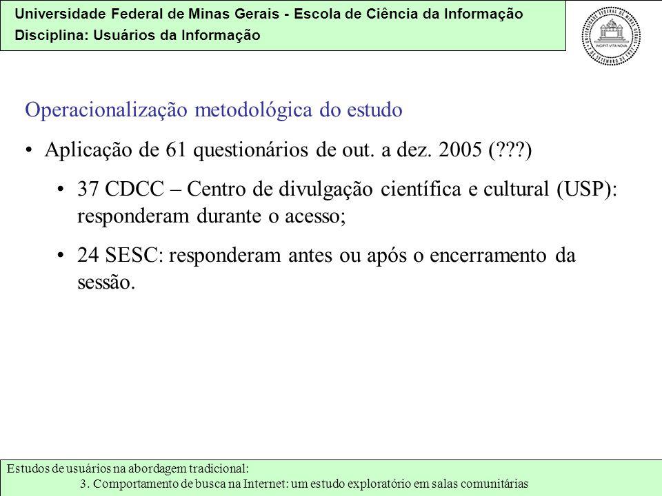 Operacionalização metodológica do estudo