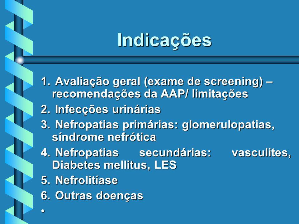 Indicações Avaliação geral (exame de screening) – recomendações da AAP/ limitações. Infecções urinárias.