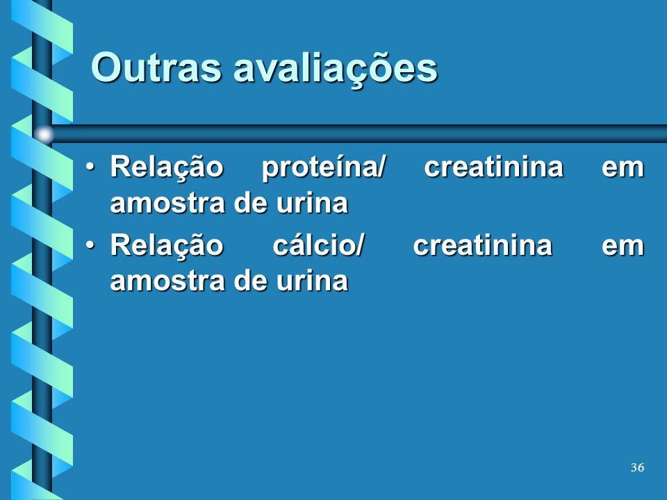 Outras avaliações Relação proteína/ creatinina em amostra de urina