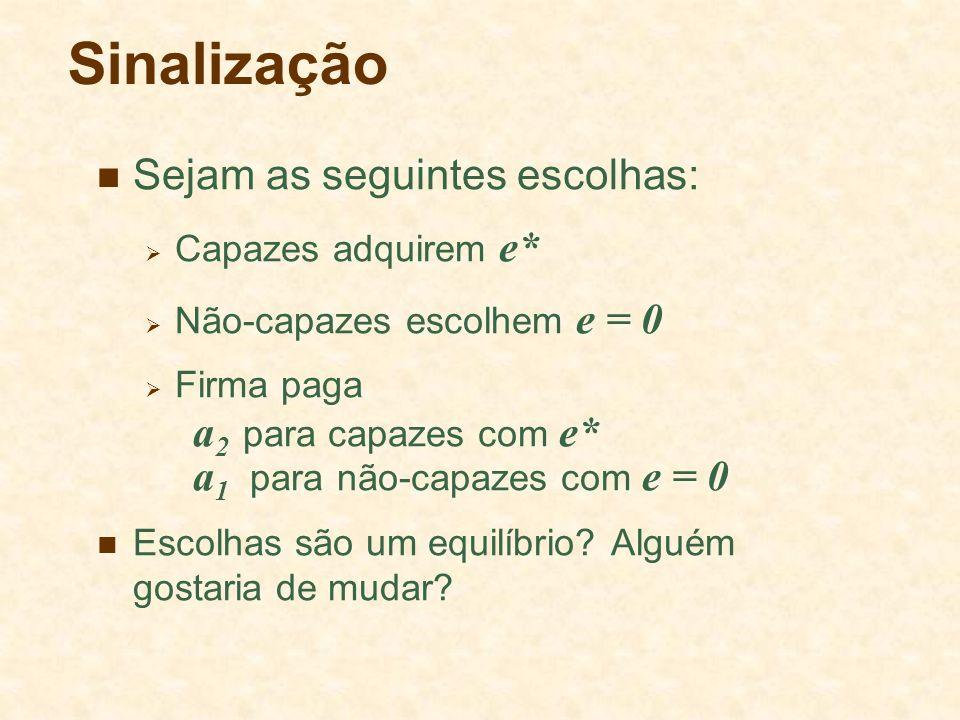 Sinalização Sejam as seguintes escolhas: a2 para capazes com e*